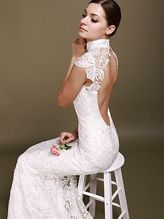 For Him and Her backless mermaid wedding dress with lace cap sleeves for $530