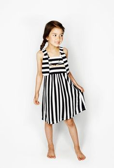 Bang Bang Copenhagen Striped Ninka Dress -features a black and white striped bodice with a cute rabbit face on the front. Modern Kids, Little Girl Fashion, Cool Kids, Bangs, Little Girls, Bodice, Girl Outfits, Cold Shoulder Dress, Black And White