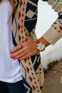 Cozy Printed Cardigan and accents