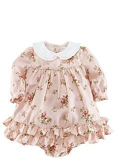 A pretty Peter Pan collar and sweet ruffles adorn this lightweight twill floral dress that comes with a matching bloomer. Little Girl Outfits, Cute Outfits For Kids, Little Girl Dresses, Toddler Outfits, Baby Girl Fashion, Toddler Fashion, Kids Fashion, Vintage Baby Clothes, Baby Kids Clothes