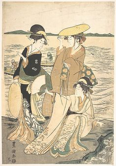 Three Young Ladies by the Seashore  Utagawa Toyokuni I  (Japanese, 1769–1825)  Period: Edo period (1615–1868) Culture: Japan Medium: Polychrome woodblock print; ink and color on paper