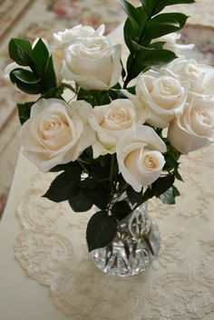 White roses in crystal