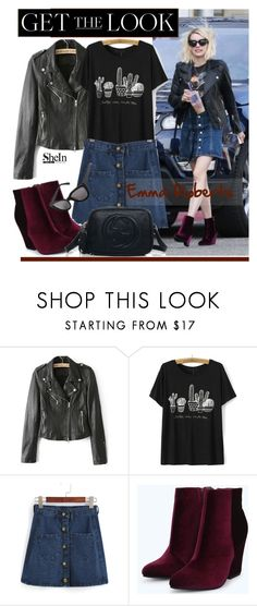 """Get The Look with Shein.com"" by hamaly ❤ liked on Polyvore featuring Gucci, Sunday Somewhere, vintage, GetTheLook, StreetStyle, emmaroberts, leatherjacket and Sheinside"
