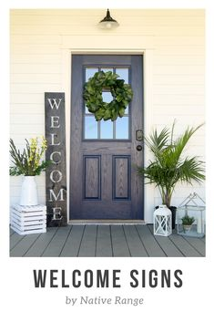 Welcome signs for your front porch and front door area. Check out all of our Etsy listings. Front Door Porch, Front Porch Design, Front Door Decor, Front Porch Decorations, Fromt Porch Ideas, Diy Front Porch Ideas, Above Door Decor, Front Porch Plants, Front Porch Makeover