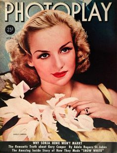 Actress Carole Lombard. April 1938 Photoplay Magazine.