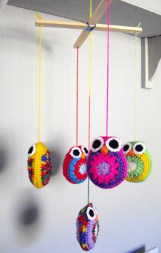 Crochet Mobile Owls by SimplyStitcheduk on Etsy