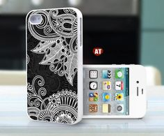 iphone 4 case iphone 4s case iphone 4 cover red white illustrator white flower graphic design printing. $13.99, via Etsy.
