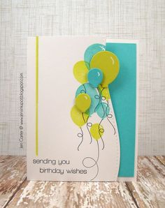 Whimsy STAMPS Happy Everything stamp set; Party Time and Curved border dies. Colors: Turquoise, Lime, Black & White. Balloons