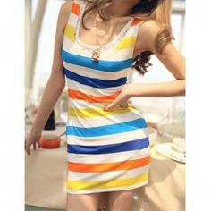 Stylish Round Neckline Colorful Stripes Mercerized Cotton Sleeveless Dress in Dresses 2013 | DressLily.com