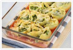 Cocinerando | Recetas de Cocina con Fotos: Conchas de Pasta rellenas de Ricotta y Espinacas