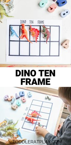 This ten frame is super fun and inviting and helps toddlers and preschoolers learn counting, numbers and number sense! Outdoor Activities For Kids, Preschool Activities, Crafts For Kids, Dinosaur Activities, Preschool Learning, Educational Activities, Number Sense Kindergarten, Kindergarten Math, Counting Activities