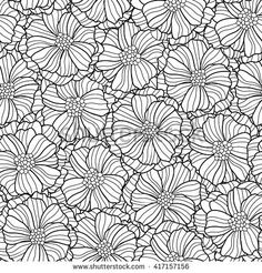 Vector Seamless Floral Background Black And White Textile Fabric Print Pattern