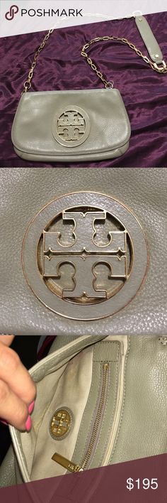 Tory Burch cross body purse Excellent condition a light khaki color. little lipstick stain on the inside other than that no flaws. Tory Burch Bags Crossbody Bags
