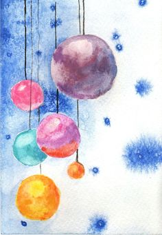 Original watercolor christmas tree balls Christmas by MilkFoam, $20.00