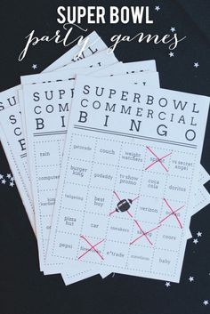 Superbowl Party Commercial Bingo Cards