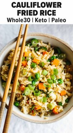 This cauliflower rice recipe is an easy dinner idea or lunch! It puts a healthy spin on a classic Chinese stir-fry recipe. #cauliflowerrice #cauliflowerrecipe #stirfryrecipe #friedrice Vegetable Fried Rice, Cauliflower Fried Rice, Cauliflower Recipes, Cooking Recipes, Healthy Recipes, Paleo Meals, Free Recipes, Vegetarian Recipes, Chinese Stir Fry