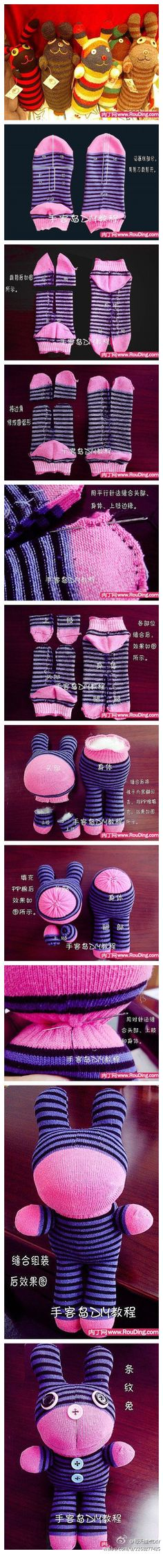 Sock plush toys. Warning this one is in Japanese, so you just have to follow the tutorial pictures.