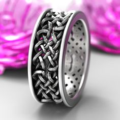 Celtic Wedding Ring With Open Cut-Through Knotwork Design in Sterling Silver, Made in Your Size 1141 Celtic Engagement Rings, Celtic Wedding Rings, Celtic Rings, Custom Jewelry Design, Unique Jewelry, Celtic Designs, Ring Designs, Rings For Men, Bling