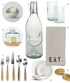 Cute: I love the ceramic basket, the milk bottle, the napkins, olive wood shakers and white dinner wear.