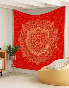 Gold on Red Mandala Boho Bohemian Wall Tapestry