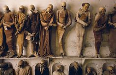Mummies in the Capuchin catacombs of Palermo, Italy. The monks began mummifying their brothers in entombing them in the catacombs below with their clothes and religious items. Soon locals began.