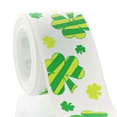 "St. Patrick's ribbon with a touch of whimsy! 3/8"" and 1.5"" widths available. Use this lucky shamrock ribbon to make a hair-bow or other accessory to wear on the  ""avoid-a-pinch"" day!"
