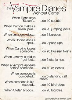 This sounds fun. Need a different TV show or need to start watching The Vampire Diaries. The Vampire Diaries: Workout Game edition! Vampire Diaries Memes, Vampire Diaries Workout, Serie The Vampire Diaries, Vampire Diaries Stefan, Vampire Diaries The Originals, Vampire Diaries Seasons, Tv Show Workouts, Fitness Workouts, Netflix Workout