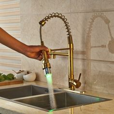 Gold Finish LED Kitchen Faucet with Pullout Tap & Mixer