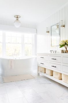 Dreaming of an extravagance or designer master bathroom? We've gathered together plenty of gorgeous master bathroom suggestions for small or large budgets, including baths, showers, sinks and basins, plus bathroom decor tips. Bathroom Styling, All White Bathroom, Furniture, Home, Bathroom Design, White Bathroom, Elegant Bathroom, Home Decor, Classic Towels