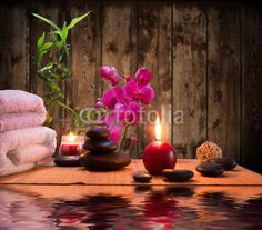 massage - bamboo - orchid, towels, candles stones
