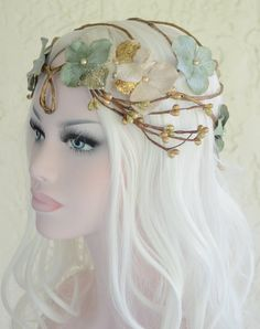 SALE Gold and green sorsha hair wreath  by Frecklesfairychest, $50.00