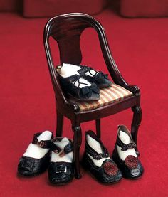 Three Pairs of Antique Doll Shoes. Circa 1880. http://Theriaults.com