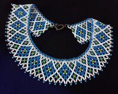 Blue white geometric seed bead necklace for women in ethnic style Folk Ukrainian jewelry in gift Netted beadweaving collar Geometric choker Diy Jewelry Necklace, Seed Bead Necklace, Necklace Designs, Earrings Handmade, Beaded Jewelry, Handmade Jewelry, Unique Jewelry, Beaded Necklaces, Necklace Ideas