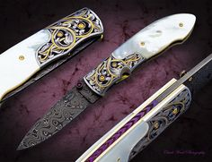 """This is the 2016 Knife Rights Collaboration Folder...My """"Rage"""" model Fine Folder. The Mother of Pearl scales were furnished by Culpepper MOP, the Damascus blade by Chad Nichols Damascus, the engraved bolsters are by Alice Carter, the engraved back spacer is by Bill Ruple, photography by Chuck Ward Photography. I built the knife to support the organization, """"Knife Rights""""."""