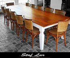 """Stof Lar Decorações - Móveis em Madeira de Demolição: - Mesa Retangular + 12 cadeiras """"Nice"""""""