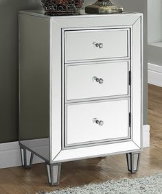 Brushed Silver Mirror Triple-Drawer Accent Table #zulily #zulilyfinds