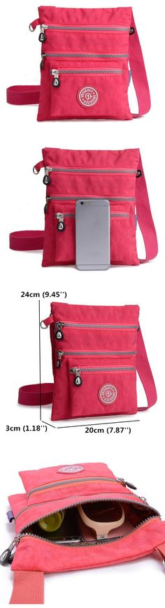 Seventeen Colors for You to Choose。Women Casual Nylon Waterproof Multi-Pocket Messenger Zipper Crossbody Bag Shoulder Bag