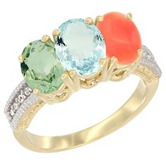 14K Yellow Gold Natural Green Amethyst, Aquamarine and Coral Ring 3-Stone 7x5 mm Oval Diamond Accent, sizes 5 - 10 -- Check out this great image  : Jewelry Ring Bands