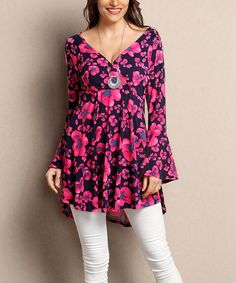 Look what I found on #zulily! Navy & Fuchsia Floral Surplice Tunic - Plus by Reborn Collection #zulilyfinds
