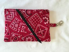 Zipper Pouch Red Bandana Coin Purse with Clip by HandRstudio
