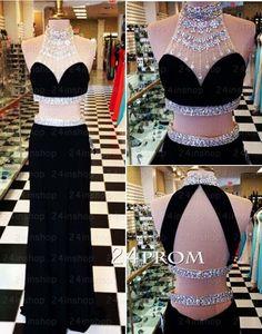 A-line Black Chiffon Long Prom Dresses, Formal Dresses – 24prom #prom #promdress #formal #promdresses #evening #dress