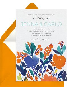 Vibrant, Bloom, Invitations, Messages, Orange, Wedding, Design, Valentines Day Weddings