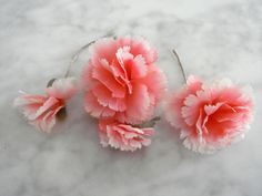 Vintage 1950's millinery flower 3 pc coral carnations