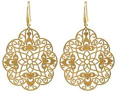 These over sized drop golden earrings made from mixed alloy have a lovely floral cut out pattern that certainly makes it a very attractive piece    Height is 5.5 cm    Width is 5 cm
