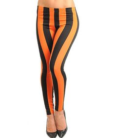 Take a look at this Orange & Black Stripe Leggings - Women by Buy in America on #zulily today!
