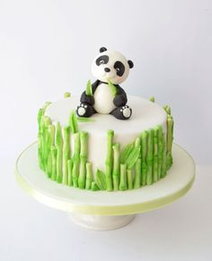 Panda Cakes, Bear Cakes, Panda Bear Cake, Fondant Cakes, Cupcake Cakes, Fondant Toppers, Panda Birthday Cake, Teen Birthday, Happy Birthday