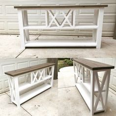 Rustic X Winerack Console table / Farmhouse Console table - Wood projects - esszimmerdekoration Diy Sofa Table, Diy Furniture Table, Farmhouse Furniture, Furniture Projects, Rustic Furniture, Farmhouse Sofa Table, Diy Projects, White Sofa Table, Sofa Tables