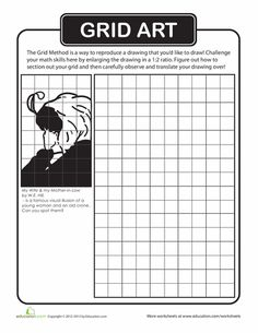 grid drawings for art | Drawing with Grids Worksheets | Art ...