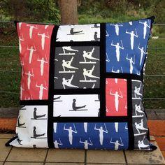 Big Gymnastics Cushion inspired by Mondrian Mondrian, Gymnastics, Cushions, Quilts, Blanket, Inspired, Big, Handmade, Inspiration