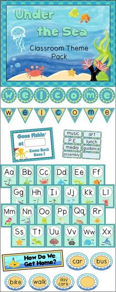 Big classroom theme pack - Under The Sea - 129 pages